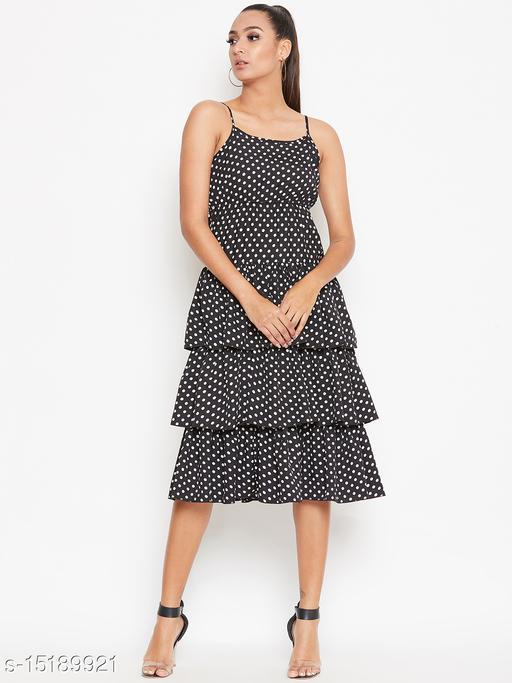 Mj Life Style Women Miniature Polka Dots Printed Strappy Layered Ruffled Dress