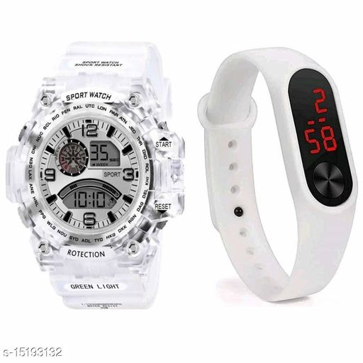 New Young Trending With Awesome Look Buy 1 Digital Silver Dial Transperent Strap Get Free 1 White Digital Band Watch For Men-Boys