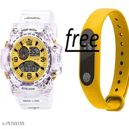 New Stylish Perfect Look Buy 1 Gold Dial White Transperent Watch Get Free 1 Yellow Digital Band For Men-Boys