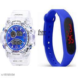 New Latest design Buy 1 Blue Dial White Transperent Strap Get Free 1 Blue Digital Band Watch For Men-Boys