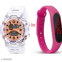 New Stylish Perfect Look Buy 1 Pink Dial White Transperent Watch Get Free 1 Pink Digital Band For Men-Boys