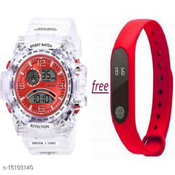New Latest design Buy 1 Red Dial White Transperent Strap Get Free 1 Red Digital Band Watch For Men-Boys