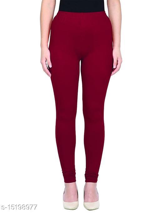 Maroon Colour Ultra Soft Cotton Churidar Solid Regular Leggings for Womens and Girls - Medium (1 Pc)