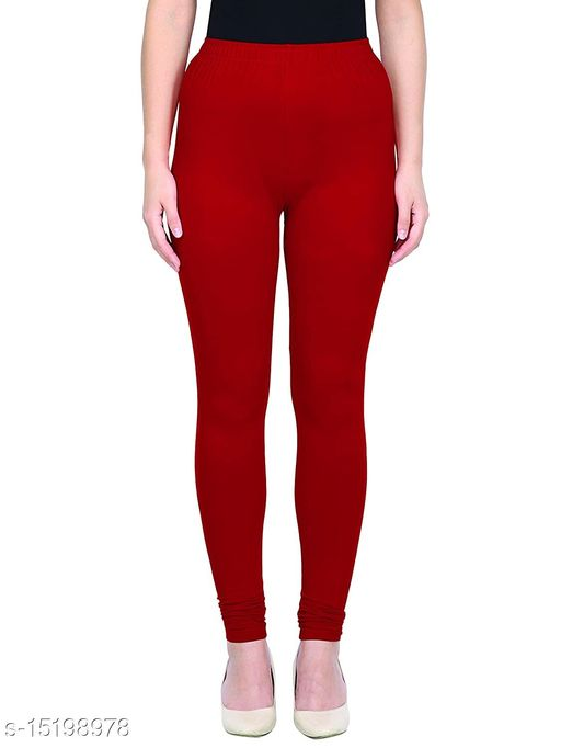Red Colour Ultra Soft Cotton Churidar Solid Regular Leggings for Womens and Girls - Medium (1 Pc)