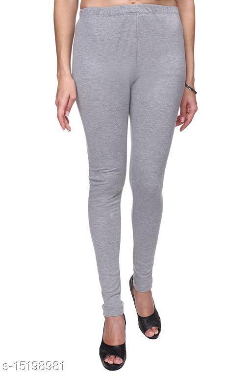 Grey Colour Ultra Soft Cotton Churidar Solid Regular Leggings for Womens and Girls - Medium (1 Pc)