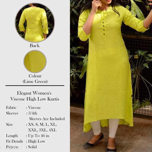 Women Viscose Assymetrical Solid Yellow Kurti