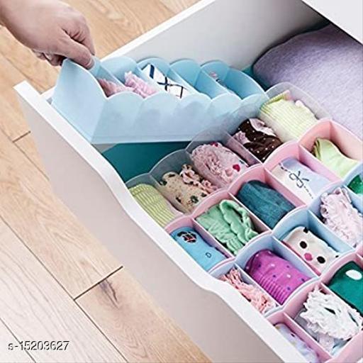5 GRID Plastic Socks Rack - Undergarments Innerwear Cosmetic Makeup Drawer Organiser Partition Grids Storage Box - Multicolour - Set of 4