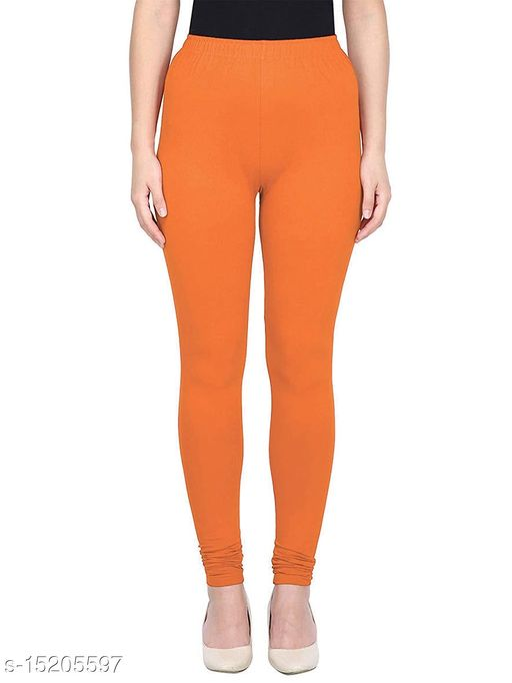 Orange Colour Ultra Soft Cotton Churidar Solid Regular Leggings for Womens and Girls - Medium (1 Pc)