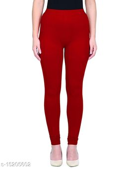 Red Colour Ultra Soft Cotton Churidar Solid Regular Leggings for Womens and Girls Large (1 Pc)