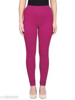 Magenta Colour Ultra Soft Cotton Churidar Solid Regular Leggings for Womens and Girls - Medium (1 Pc)