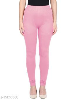Pink Colour Ultra Soft Cotton Churidar Solid Regular Leggings for Womens and Girls Large (1 Pc)