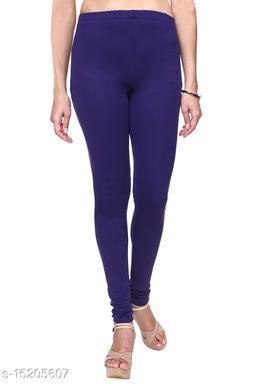 Purple Colour Ultra Soft Cotton Churidar Solid Regular Leggings for Womens and Girls - Medium (1 Pc)