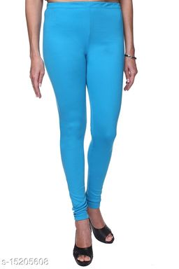 SkyBlue Colour Ultra Soft Cotton Churidar Solid Regular Leggings for Womens and Girls Large (1 Pc)