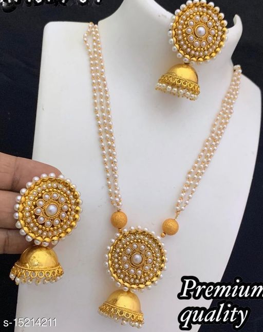 Premium Quality AD Stone Necklace Set in Moti Chain and Matching Jhumki Earrings for Women