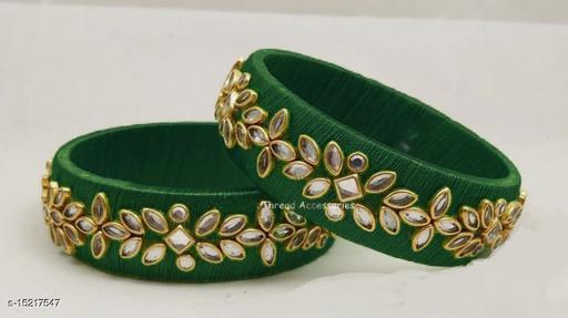 Gehna Beautiful Kundan Green Silk Thread Bangle (Set of 2)