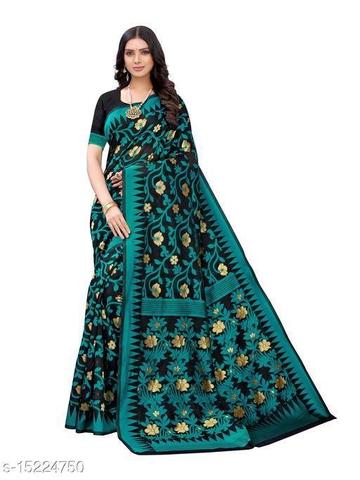 Poly Cotton Floral Woven Design Saree
