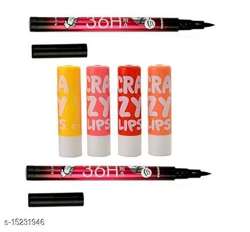 36h eyeliner 2pcs 20 gm + crazy lip balm 4 pcs 40 gm  (pack of 60