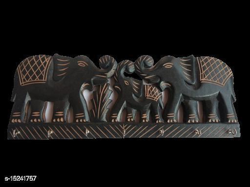 Kenji beautiful elephant designed, carved, wall décor Key Holder 7 Hooks