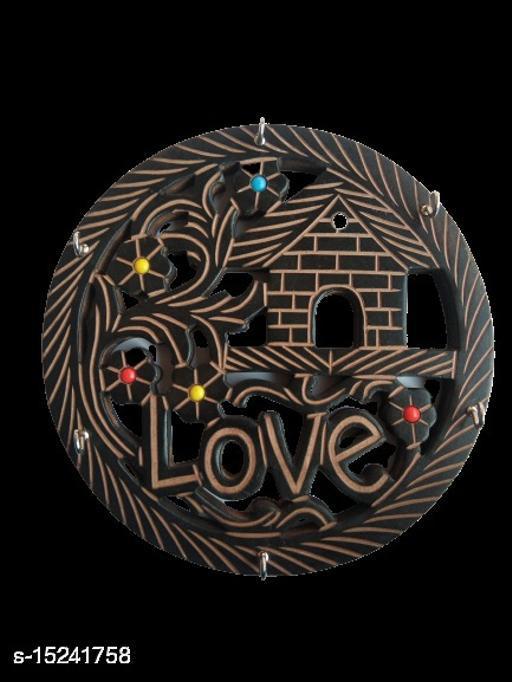Kenji Love Key Holder Wooden Chabi Hanger 6 Hooks (Brown)