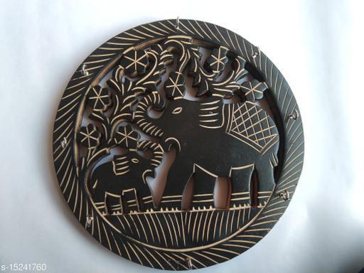 Kenji Elephant Carved  Round Elephant in Middle Key Holder 8 Hooks