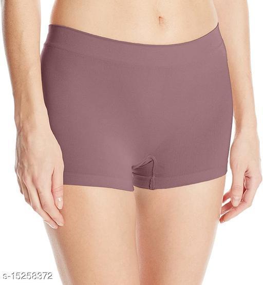 Women Boy Shorts Brown Cotton Blend Panty