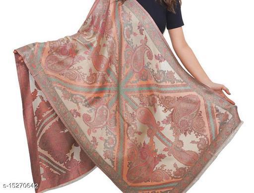 Women Fine Wool Silk Stole, Antique Cutwork Paisely Pattern , Soft  Stole