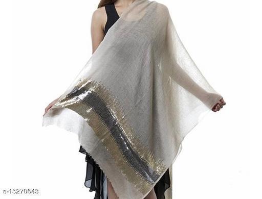 Women's Fine Wool Stole, Pashmina, Seqquins Border ,Soft and Warm,Luxury  Stole