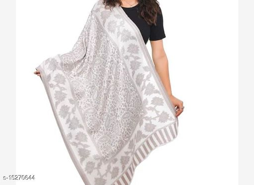 Women Fine Wool Silk,  All Over Paisely Pattern, Soft  Stole