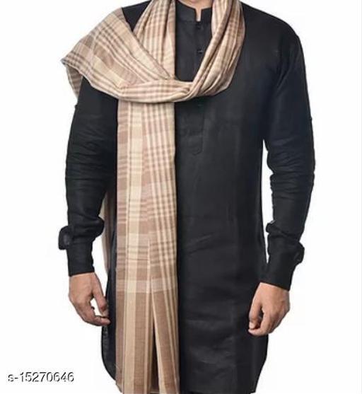 Men's Fine Wool Shawl , Yarn Dyed Check Stripes Pattern, Pashmina,Warm and Soft Shawl