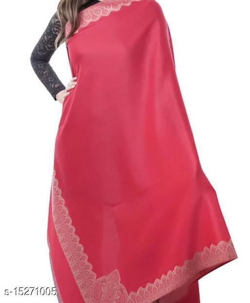 Women's Fine Wool Shawl,Kashmiri  Embroidered, Australian Merino Wool,Jacquard Woven Shawl