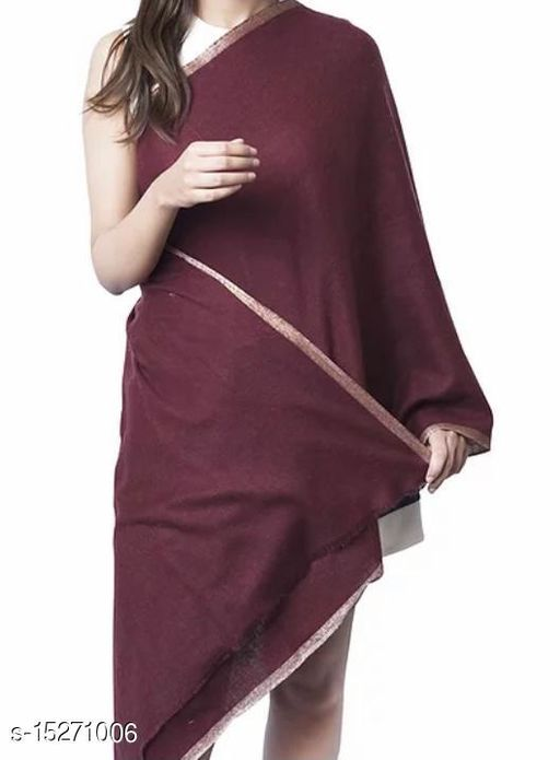 Women's Fine Wool Stole , Jacquard Woven with Lurex Border,Pashmina, Soft and Warm Stole