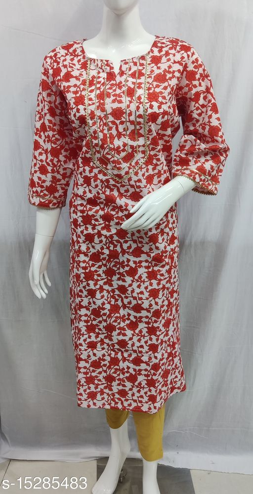 Cotton Plus Size Gota Embellished Kurtis