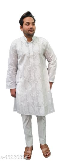 Lucknow Chikan Emporium White Colour Cotton Mens Chikankari Kurta