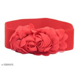 Women Casual Red Faux Leather Belt