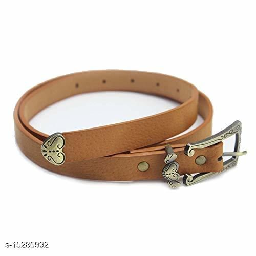 Women Casual, Party, Formal, Evening Brown Faux Leather Belt