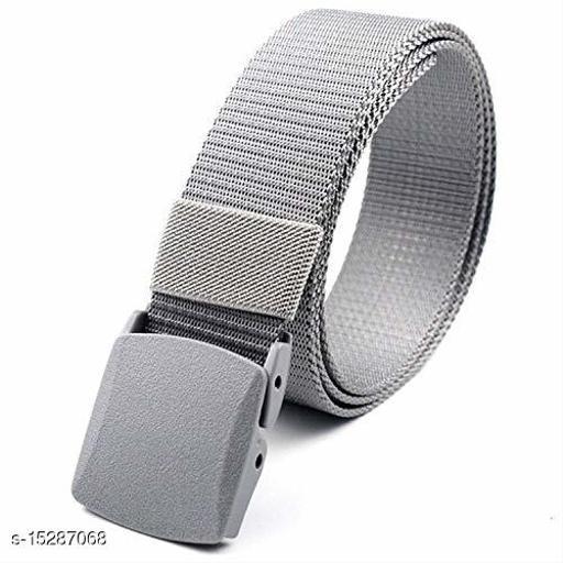 Men & Women Grey Nylon Belt