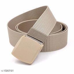 Men & Women Beige Fabric Belt