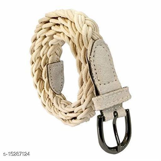 Women Casual White Faux Leather Belt