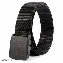 Men & Women Black Fabric Belt