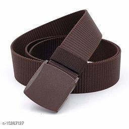 Men & Women Brown Nylon Belt