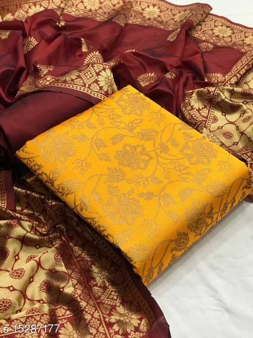 Firviz Enterprise Women's Banarasi Silk Cotton Woven Design Unstitched Party Dress Material Yellow Color