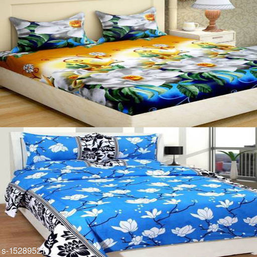 OM GOODS POLYCOTTON DOUBLE BAD SHEETS (90X90) PACK OF 2 WITH 4 PILLOW COVER