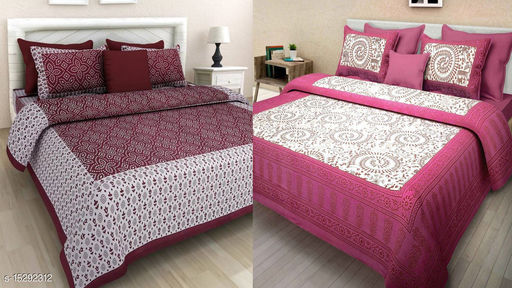 Combo Bedsheet Pack 2 Jaipuri Cotton Double Bed Bedsheet with 4 Pillow Cover