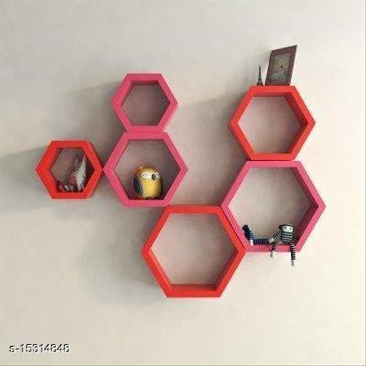 Namra ArtsHexagon Designer Storage Shelf, Set of 6