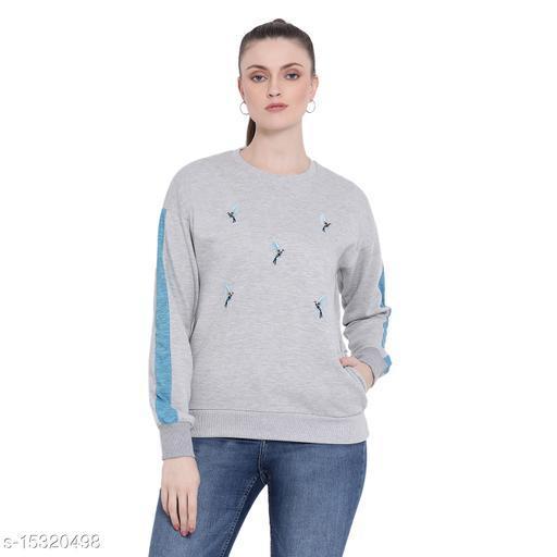 PERFKT-U Women's Round Neck Fleece Sweatshirt With Embroidery