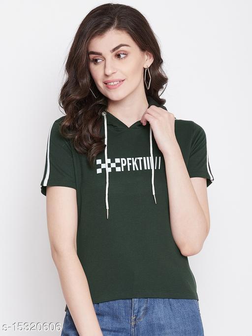 PERFKT-U Women's Half Sleeves Printed Hoodie
