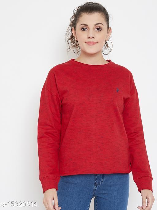 PERFKT-U Women's Round Neck Hip-Hop Injection Slub Fleece Sweatshirt