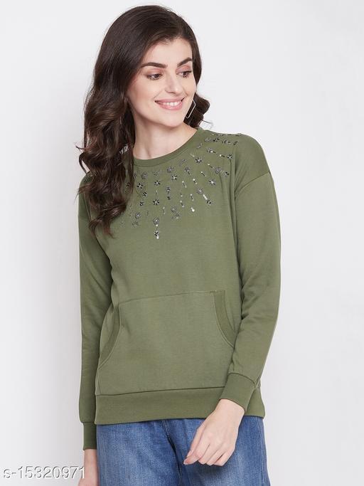 PERFKT-U Women's Full Sleeves Hand Work Embroidery Sweatshirt