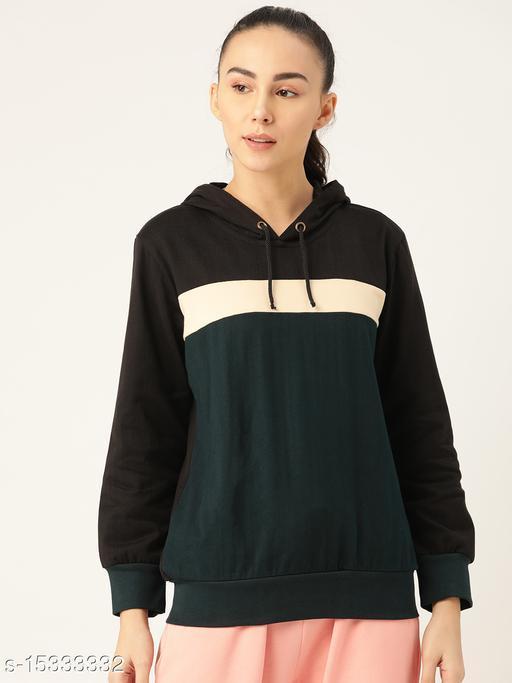 Laabha Women Black & Navy Blue Striped Hooded Sweatshirt