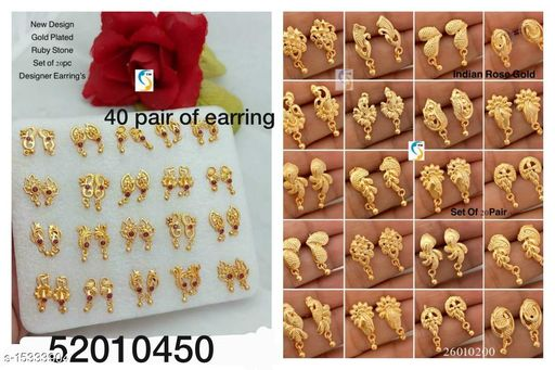 GOLD PLATED RUBY STONE EARRING ND GOLD PLATED EARRING COMBO JEWELLERY